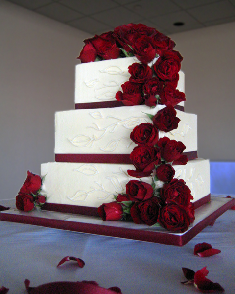 Square Wedding Cake With Red Roses - 5000+ Simple Wedding Cakes